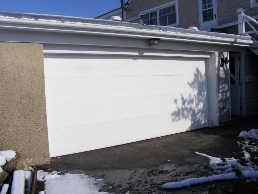 False centerpost double wide garage door low head room for Garage door widths double