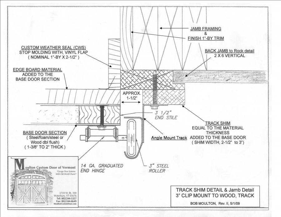 track shim detail illustration and notes