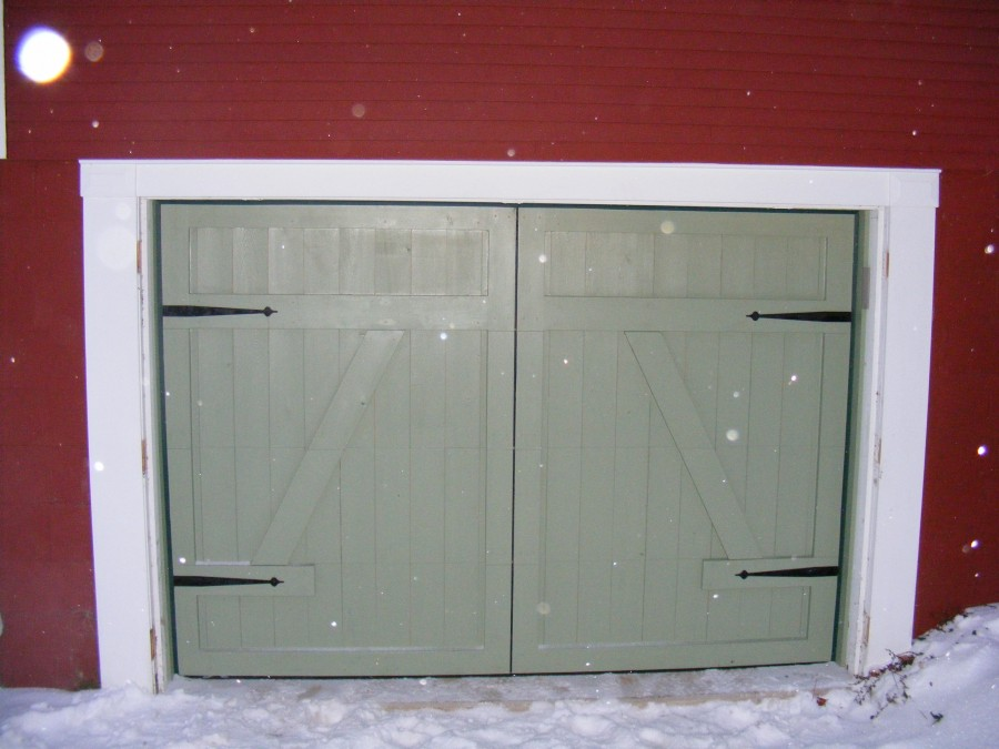 Low headroom garage door installation exterior hardware for Barn style front door