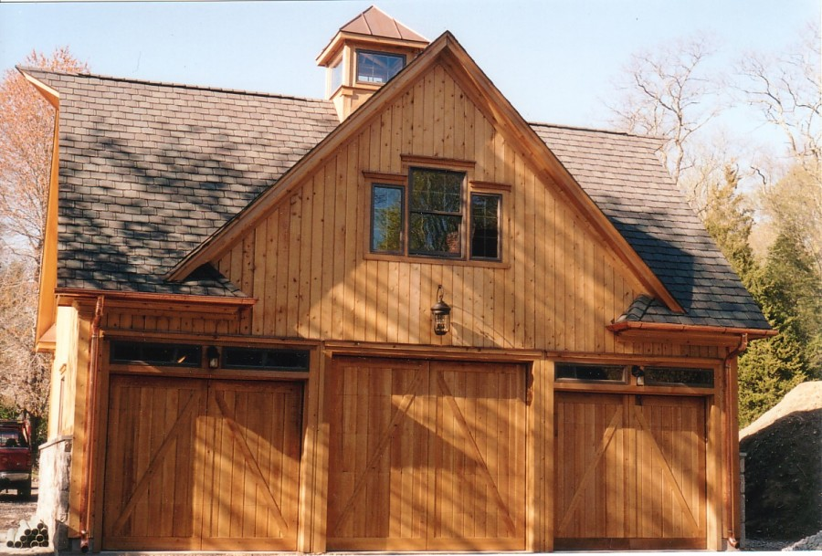 Barn style overhead garage door with false hinges for Oversized garage door