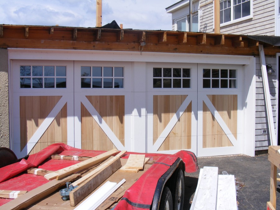 False centerpost double wide garage door low head room for How wide is a single garage door